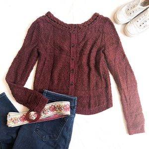 anthro MOTH Back Button Cropped Sweater